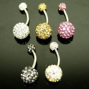 New Gorgeous Metallic Multi Crystal Ferido Double Ball Belly Bar Body Jewellery