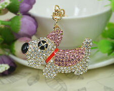 XD Dog Cute Animals Keyring Rhinestone Crystal Charm Pendant Key Bag Chain Gift