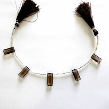 +AAA 5 Pcs Faceted Baguette Shape Natural Smokey Quartz Beads Line For Designers