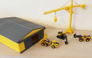 Volvo Constructions Site Playset Truck Excavator Crane Shed Diecast Model NEW