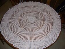 """Antique Hand Crocheted Round Tablecloth Cream 47"""""""