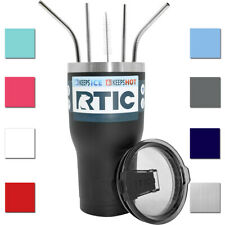 RTIC Insulated 20 oz. or 30 oz. Stainless Steel Tumbler with Stainless Straws