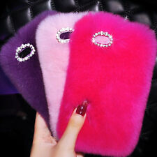 Luxury Bling Fuzzy Warm Soft Fluffy Fur Plush Back Case Cover For iPhone&Samsung