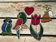 Handmade Stained Glass Tulip Owl Angel Heart Parrot Suncatcher Lot Estate