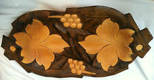 Vintage Carved Wooden Serving Tray Plate Dark/ Light Wood Leaves and Grapes 15.5