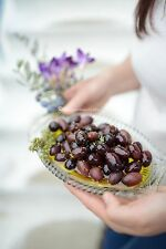 Gourmet Kalamon Olives Organic in EVOO & herbs handpicked, kalamata greek olives