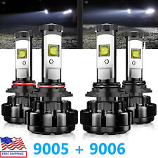 JDM ASTAR N2 9005 + 9006 LED Headlights High/Low Beam Bulbs 6000K Fog Light 4pcs