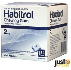 Habitrol Nicotine Gum 2mg Mint Flavor (384 Piece 1 Bulk Box) NEW 12/2022