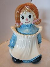 "Metlox Poppytrail Style Raggedy Ann Cookie Jar marked & Label 11""H Mid century"