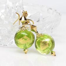 Peridot and Gold Venetian Murano Lampwork Glass Earrings, August Birthstone