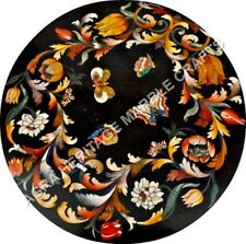 "30"" Round Marble Coffee Cafe Outdoor Table Butterfly Mosaic Floral Inlaid H5115A"