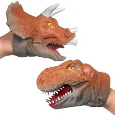 Rubbery Dinosaur Hand Puppet - Choose from T-rex or Triceratops