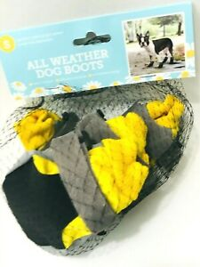 Dog Boots All Weather Dog Boots Protects your Pups Paws, Size Small Yellow/Grey