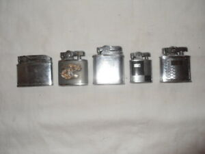 """Lot of 5 restored to working condition """"automatic"""" cigarette lighters lot #  7"""