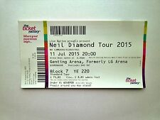NEIL DIAMOND MEMORABILIA - Mint Condition Ticket Stub(s) Birmingham 11/07/15