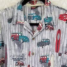 XL Men's Gray Hutspah Hawaiian Shirt Aloha Surf Woody Hot Rod wagon USA