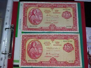 Irish banknotes TWENTY POUNDS 6.1.75   24.3.76