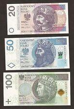 Polonia 20/50/100 złotych BU SET