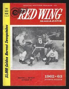 1962 Detroit Red Wing Magazine, Game Program vs Boston Bruins - EX+++