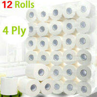 12 Rolls Toilet Paper Bulk Bath Tissue Bathroom White Soft 4 Ply 80g / Roll US
