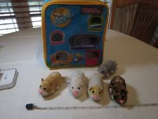 ZhuZhu pets Hamster hangout carry case LOT 5 hamsters house storage collectible