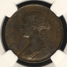Great Britain 1/2 Penny 1861 Au53 Ngc Km#748.2 6/6 Unlisted Variety Error 1/2P