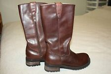 "Leather Boots~Size 6 1/2 M~Brown~Steve Madden Brown~1 1/2"" heels~Zipper"