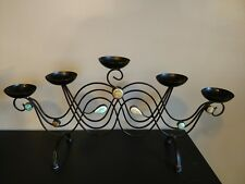 Candelabra 5 candle holder, bronze w teal accent, table centerpiece
