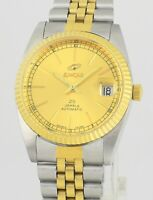 ENICAR Auto Date New Old Stock Gold Stainless Steel Vintage Mens Wrist Watch