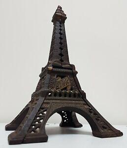 Antique Money Box Cast Iron Bank original Eiffel tower early 1900s great patina