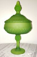 VINTAGE INDIANA GLASS FROSTED Green DIAMOND POINT PEDESTAL CANDY DISH w/ LID