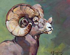 """Carl Rungius, BIG HORN SHEEP HEAD, Wildlife, antique wall decor, 20x16"""" ART"""