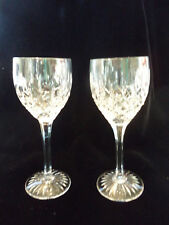 "Pair Stuart English Cut Crystal Shaftesbury Claret Wine Glass 6 3/4"" Goblets!"