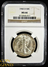 1943-D Walking Liberty Half Dollar NGC MS66 GEM BU+ RARE Uncirculated 50c Denver