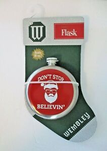 """Wembley """"Don't Stop Believin""""  Stainless Steel Flask Holds10 Oz. Santa n Shades"""