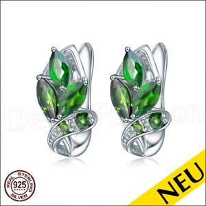 NEU 🌸 OHRRINGE 925 Sterling Silber Chrom DIOPSID Grün CHROMDIOPSID 🌸 Luxus