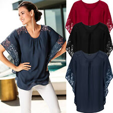 Womens Lace Batwing Sleeve T-Shirt Ladies Summer Casual Loose Tops Blouse 6-16