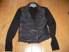 Redherring Jacket Size 10 Black with grey/white and pink