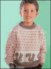 "Vintage Knitting Pattern • SQUIRREL MOTIF SWEATER • JUMPER • CHILDRENS • 24-28"""