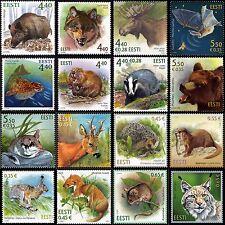 Stamp SET of ESTONIA ESTLAND ESTONIE  2002 - 2017 - Wild animals (16 stamps)
