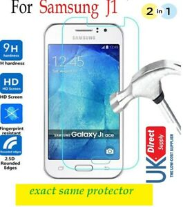 2 in 1 Pack Genuine Tempered Glass Screen Protector Case For Samsung Galaxy J1