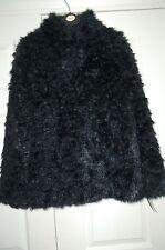 New Antoni & Alison Sz Medium Black Teddy Faux Fur Coat Jacket