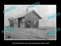 OLD LARGE HISTORIC PHOTO OF VOLIN SOUTH DAKOTA, RAILROAD DEPOT STATION c1920