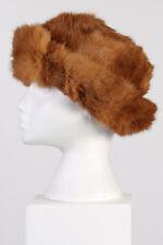 Vintage Genuine Canadian Style Winter Fur Hat 90s Soviet Beanie Brown M - HAT113