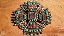 Vintage Matl Ricardo Salas Mexican Sterling Coral Turquoise Amethyst Cross Pin
