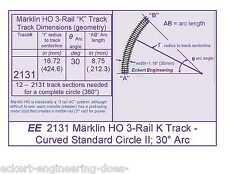 """EE 2131 EXC Maerklin Marklin Märklin HO 3-Rail """"K"""" Track - Curved Std Circle II"""
