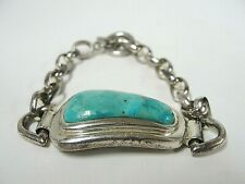 """Sterling Silver 7.5"""" Rolo BARSE Bracelet with Free-form Turquoise 30.5g"""