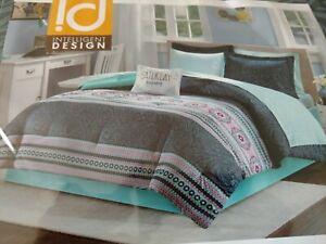 Twin XL Size Gemma Comforter and Sheet Set Micro Fiber Blue Intelligent Design