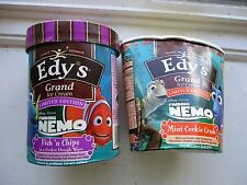 2 EDY'S FINDING NEMO ICE CREAM CONTAINERS empty Fish & Chips Mint Cookie