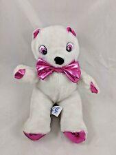 "Ace Novelty White Bear Plush Shimmery Pink Ears Paws 9"" 1987 Korea Vintage"